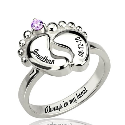 Engraved Baby Feet Ring with Birthstone Sterling Silver  - Name My Jewellery