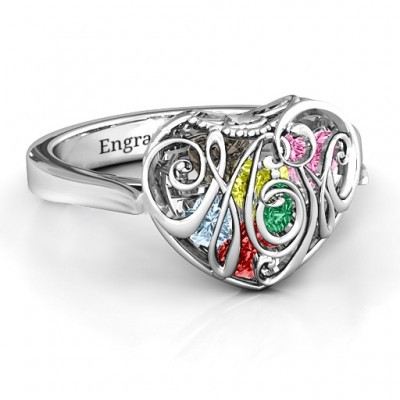 Cursive Mom Caged Hearts Ring with Ski Tip Band - Name My Jewellery