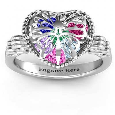 Butterfly Caged Hearts Ring with Butterfly Wings Band - Name My Jewellery