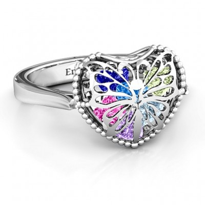 Butterfly Caged Hearts Ring with Ski Tip Band - Name My Jewellery