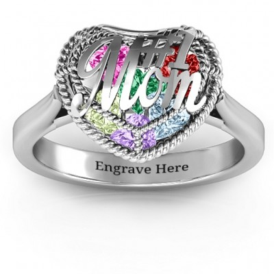 #1 Mom Caged Hearts Ring with Ski Tip Band - Name My Jewellery