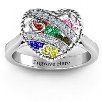 Sparkling Hearts Caged Hearts Ring with Ski Tip Band - Name My Jewellery