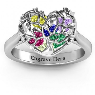 Family Tree Caged Hearts Ring with Ski Tip Band - Name My Jewellery