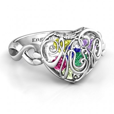 Mum heart Caged Hearts Ring with Infinity Band - Name My Jewellery