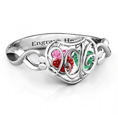 2016 Petite Caged Hearts Ring with Infinity Band - Name My Jewellery