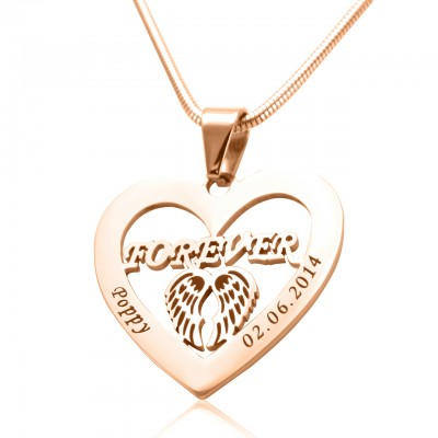 Personalised Angel in My Heart Necklace - 18ct Rose Gold Plated - Name My Jewellery