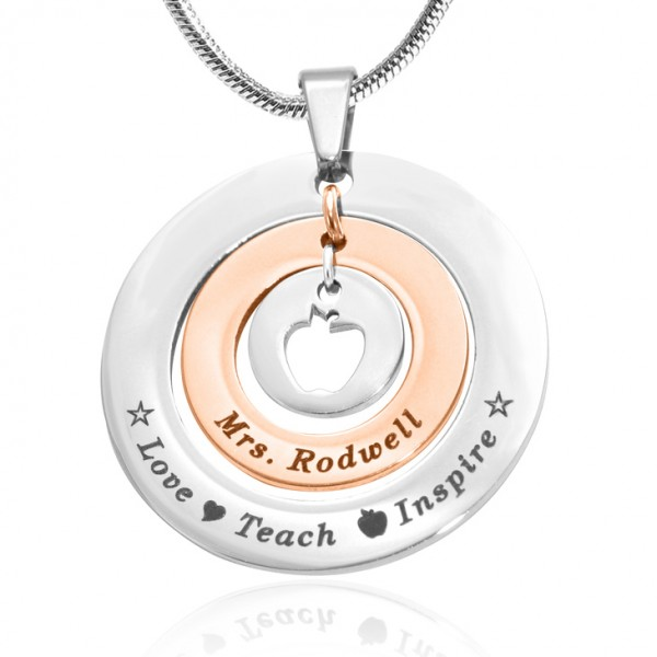 Personalised Circles of Love Necklace Teacher - TWO TONE - Rose Gold  Silver - Name My Jewellery