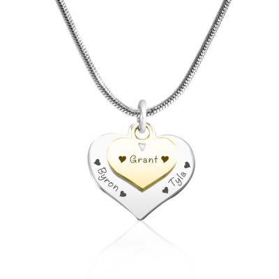 Personalised Double Heart Necklace - Two Tone - Gold n Silver - Name My Jewellery