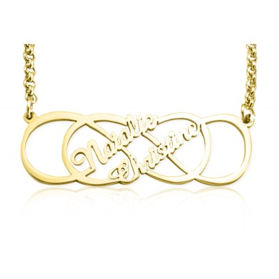 Personalised Infinity X Infinity Name Necklace - 18ct Gold Plated - Name My Jewellery