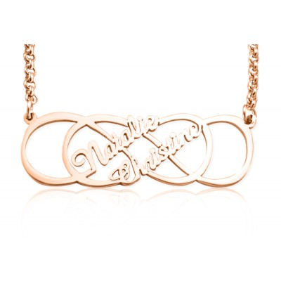 Personalised Infinity X Infinity Name Necklace - 18ct Rose Gold Plated - Name My Jewellery