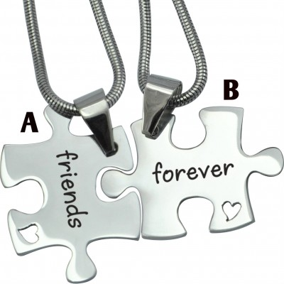 Personalised Forever Friends Puzzle Two Necklaces - Name My Jewellery