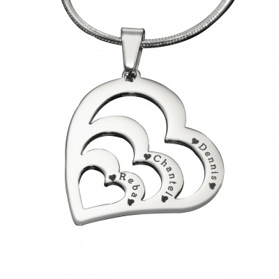 Personalised Hearts of Love Necklace - Sterling Silver - Name My Jewellery