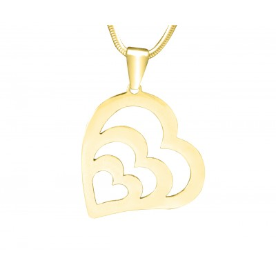 Personalised Hearts of Love Necklace - 18ct Gold Plated - Name My Jewellery