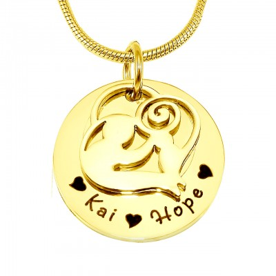 Personalised Mother's Disc Single Necklace - 18ct Gold Plated - Name My Jewellery