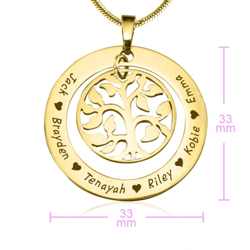 f8448a8498685 Personalised My Family Tree Necklace - 18ct Gold Plated - Name My ...