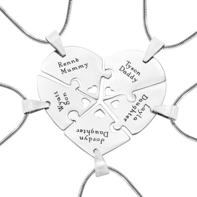 Personalised Penta Heart Puzzle - Five Personalised Necklaces - Name My Jewellery