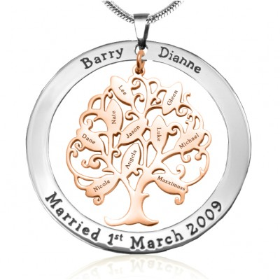 Personalised Tree of My Life Washer 10 - Two Tone - Rose Gold Tree - Name My Jewellery