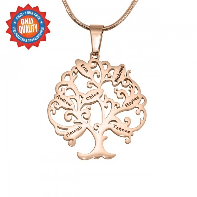 Personalised Tree of My Life Necklace 7 - 18ct Rose Gold Plated - Name My Jewellery