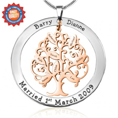 Personalised Tree of My Life Washer 8 - Two Tone - Rose Gold Tree - Name My Jewellery