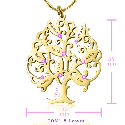 Personalised Tree of My Life Necklace 8 - 18ct Gold Plated - Name My Jewellery