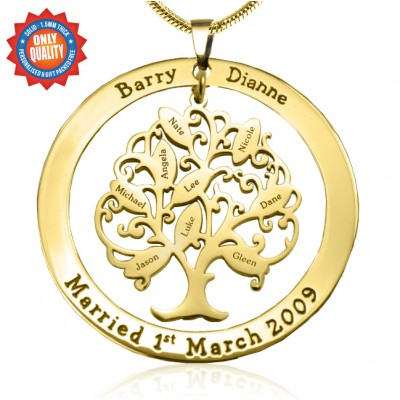 Personalised Tree of My Life Washer 9 - 18ct Gold Plated - Name My Jewellery