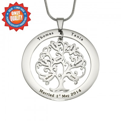 Personalised Tree of My Life Washer 7 - Sterling Silver - Name My Jewellery