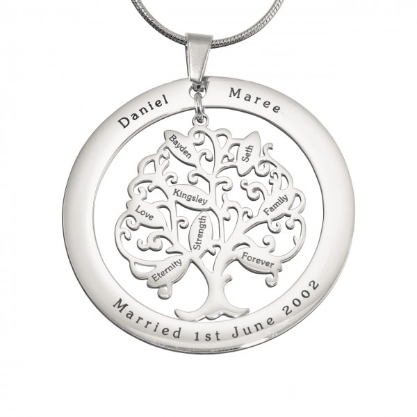Personalised Tree of My Life Washer 8 - Sterling Silver - Name My Jewellery