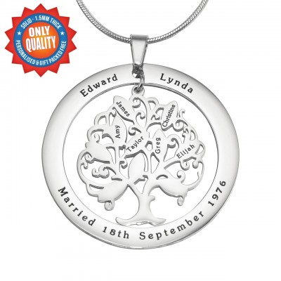 Personalised Tree of My Life Washer Necklace 10 - Sterling Silver - Name My Jewellery