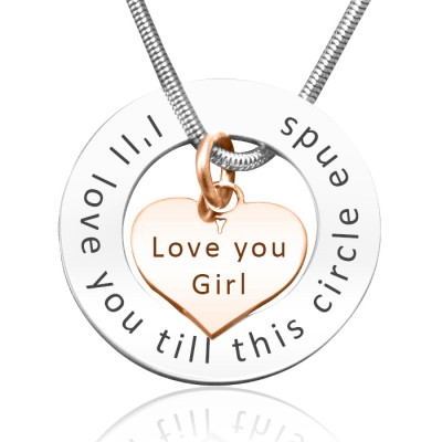 Personalised Circle My Heart Necklace - Two Tone HEART in Rose Gold - Name My Jewellery