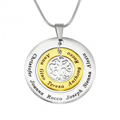 Personalised Circles of Love Necklace Tree - TWO TONE - Gold  Silver - Name My Jewellery