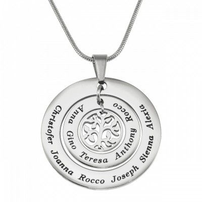 Personalised Circles of Love Necklace Tree - Silver - Name My Jewellery