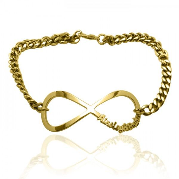 Personalised Infinity Name Bracelet/Anklet - 18ct Gold Plated - Name My Jewellery