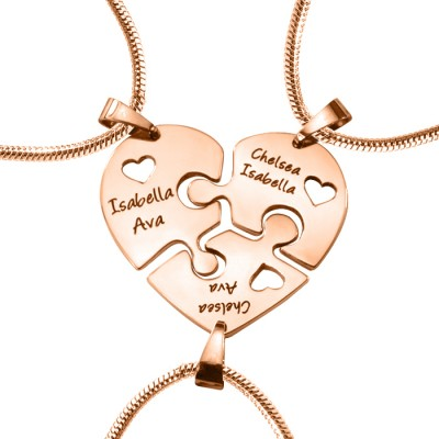 Personalised Triple Heart Puzzle - Three Personalised Necklaces - Name My Jewellery