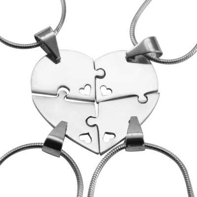 Personalised Quad Heart Puzzle - Four Personalised Necklaces - Name My Jewellery