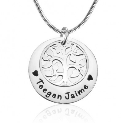 Personalised My Family Tree Single Disc - Sterling Silver - Name My Jewellery