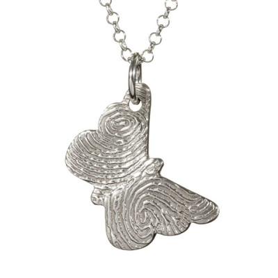 925 Sterling Silver FingerPrint Butterfly Pendant - Name My Jewellery