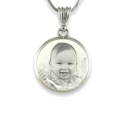 925 Sterling Silver Photo In Circle Pendant Necklace - Name My Jewellery
