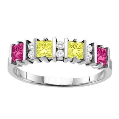 Echo  2-6 Princess Cut Stones Ring With Accents  - Name My Jewellery