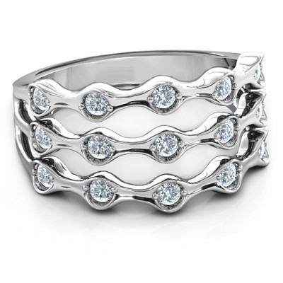15 Stone Family Wave Ring  - Name My Jewellery