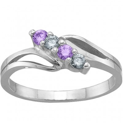 2-7 Stones Branch Ring  - Name My Jewellery
