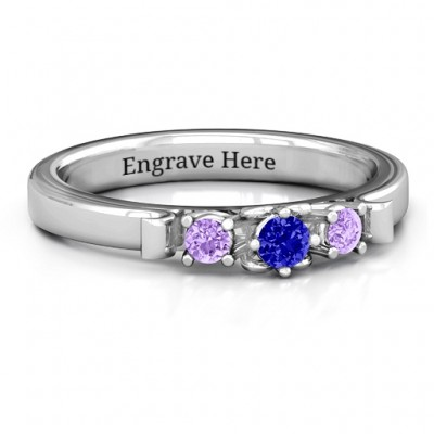 3-Stone Ring with Heart Gallery  - Name My Jewellery