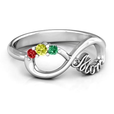 Mom's Infinite Love Ring with 2-10 Stones and 3 Cubic Zirconias Stones  - Name My Jewellery