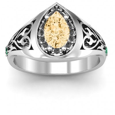 Aphrodite Ring with Side Gems - Name My Jewellery