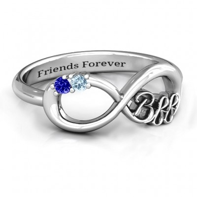 BFF Friendship Infinity Ring with 2 - 7 Stones  - Name My Jewellery