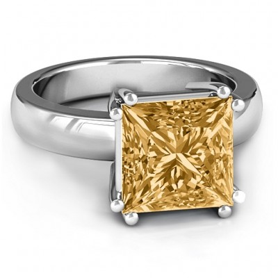Basket Set Princess Cut Solitaire Ring - Name My Jewellery