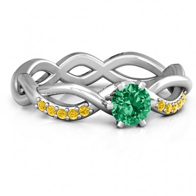 Braided Shank Round Stone Ring with Accent Weaves  - Name My Jewellery