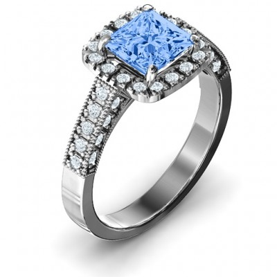 Brilliant Princess Ring with Profile Accents - Name My Jewellery
