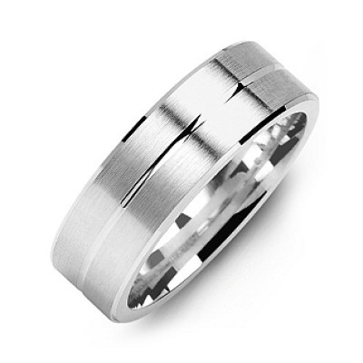 Brushed Men's Ring with Beveled Edges and Lined Centre - Name My Jewellery
