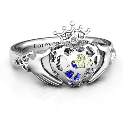 Caged Hearts Claddagh Ring - Name My Jewellery