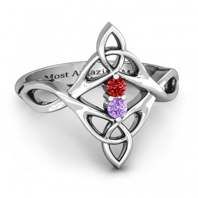 Celtic Sparkle Ring with Interwoven Infinity Band - Name My Jewellery